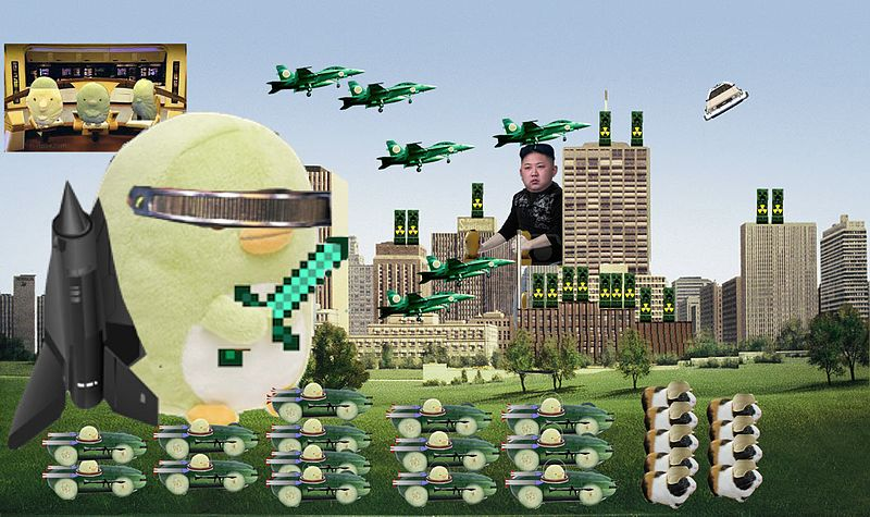 Image:  Kim Jong-un battles Ba and an army of guinea pigs . Courtesy of Wikimedia Commons, under the  Creative Commons   Attribution-Share Alike 4.0 International  license.  Thumbnail:  Fictitious flag representing the Three Supreme Leaders of the Democratic People's Republic of Korea (DPRK) . Courtesy of Wikimedia Commons under the  Creative Commons   Attribution-Share Alike 4.0 International  license.