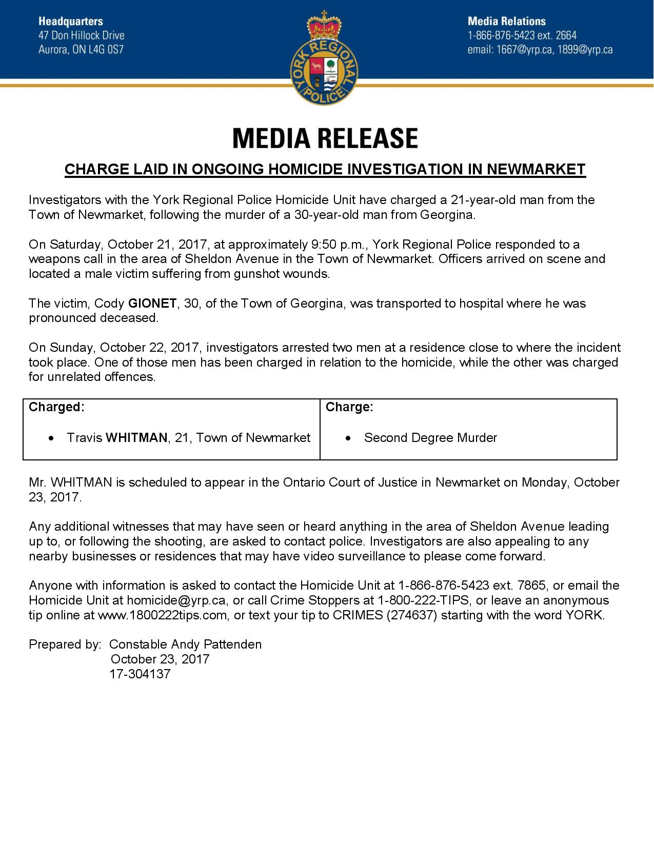 [2017-10-23] CHARGE LAID IN ONGOING HOMICIDE INVESTIGATION IN NEWMARKET-page-001.jpg