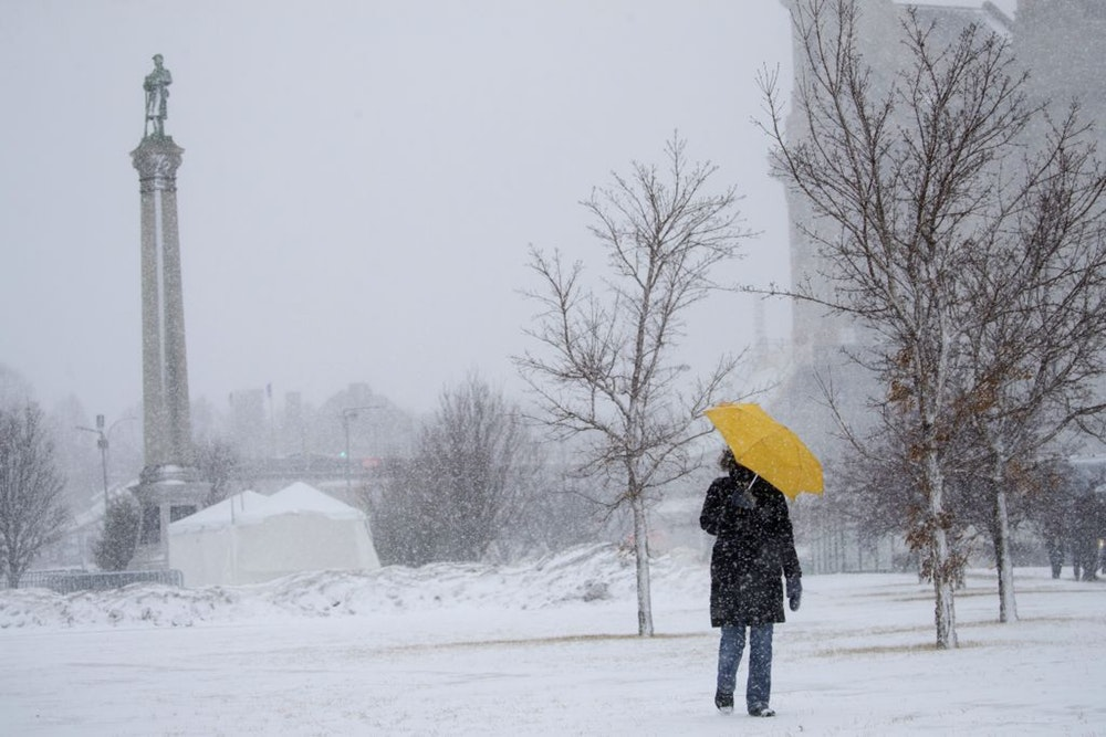 Daily walk, en route to the March for Life at the Minnesota Capitol building, during a major snowstorm—which made me a human interest story worthy of the newspaper. Photo Credit: Leila Navidi, Star Tribune.