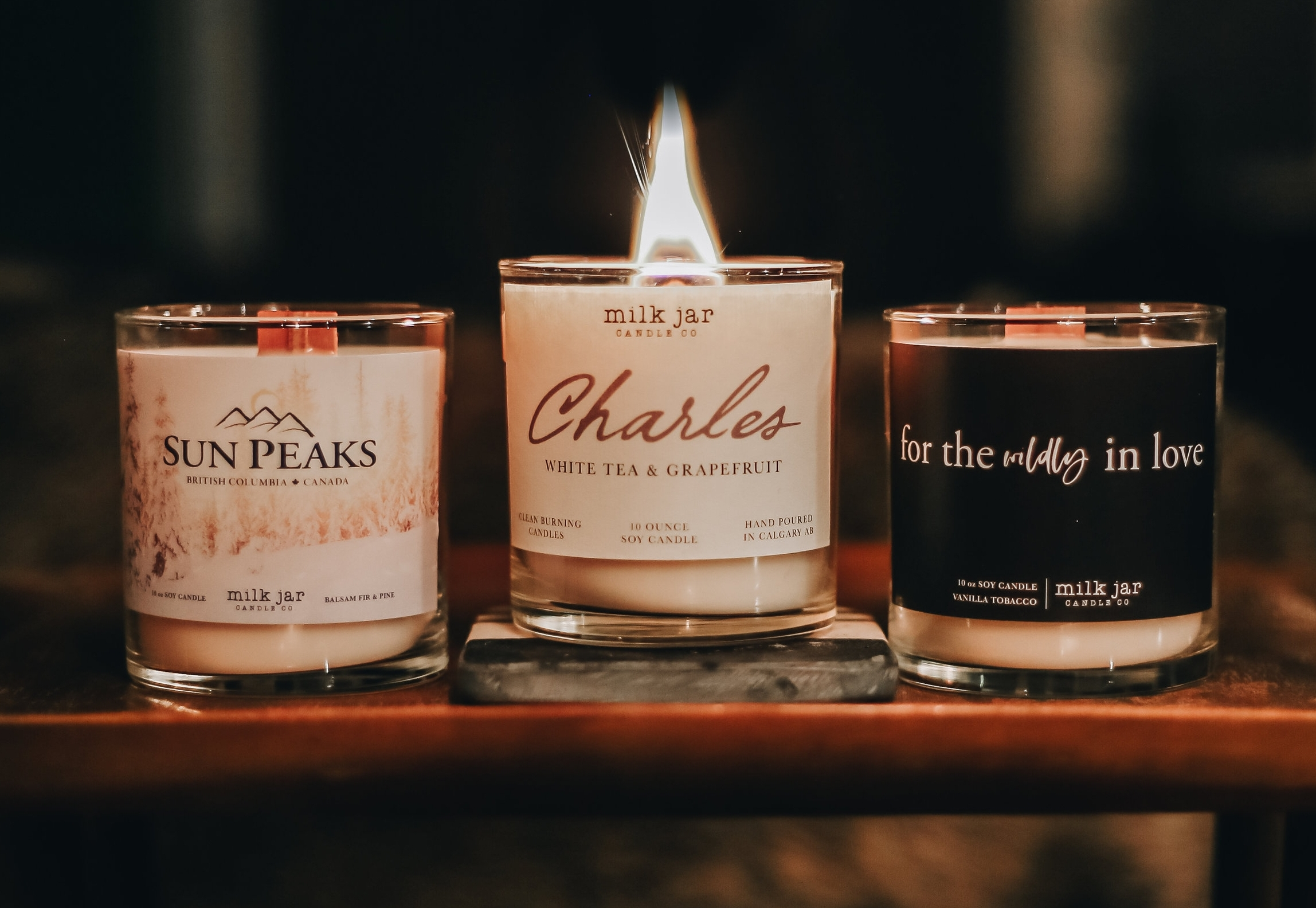 Three of our Effortless Custom candles for  Jardines  at Sun Peaks,  Charles Real Estate  &  Rebecca Frank Photography . Photo by  Carefree Photo .