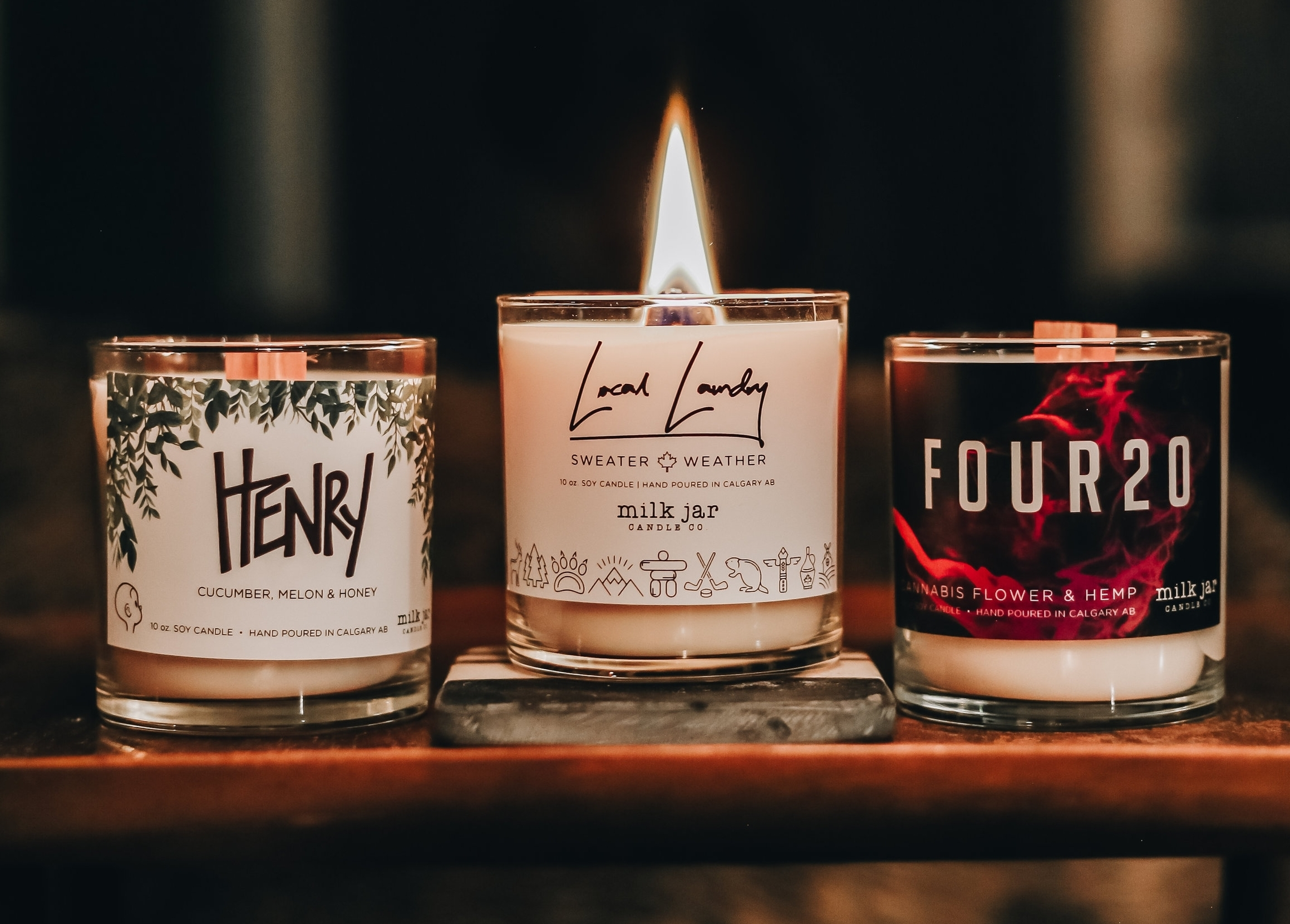 Three of our Collaborative Custom candles we created with  Ten Foot Henry ,  Local Laundry  &  Four20 . Photo by  Carefree Photo .
