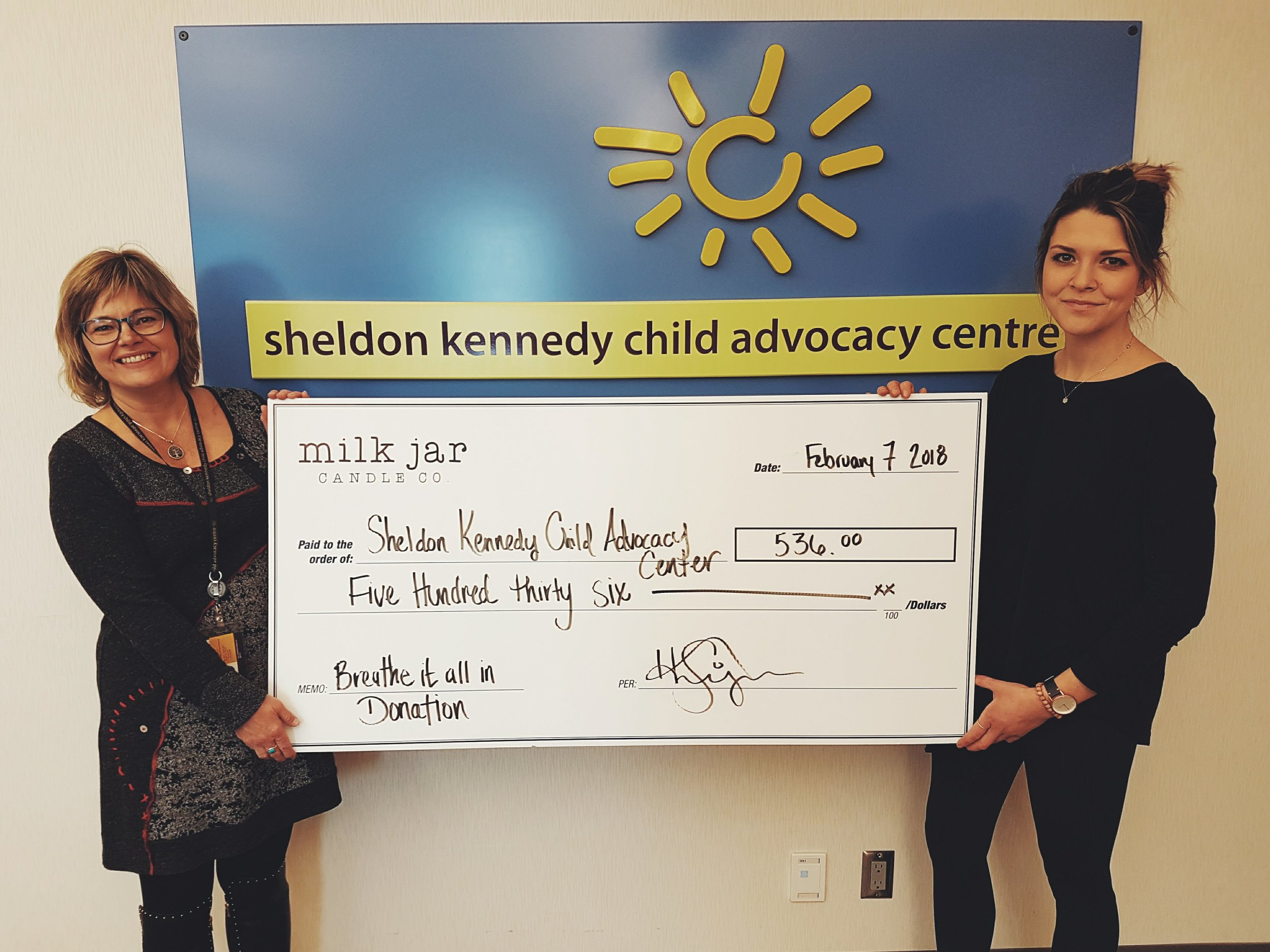 Sheldon Kennedy Child Advocacy Centre - Lululemon collaboration donationThe Sheldon Kennedy Child Advocacy Centre is a non-profit organization that is taking a leadership role to advance the way our country understands and addresses child abuse.Donations from our Breathe It All In holiday collaboration candle with Lululemon Calgary, supported this center.