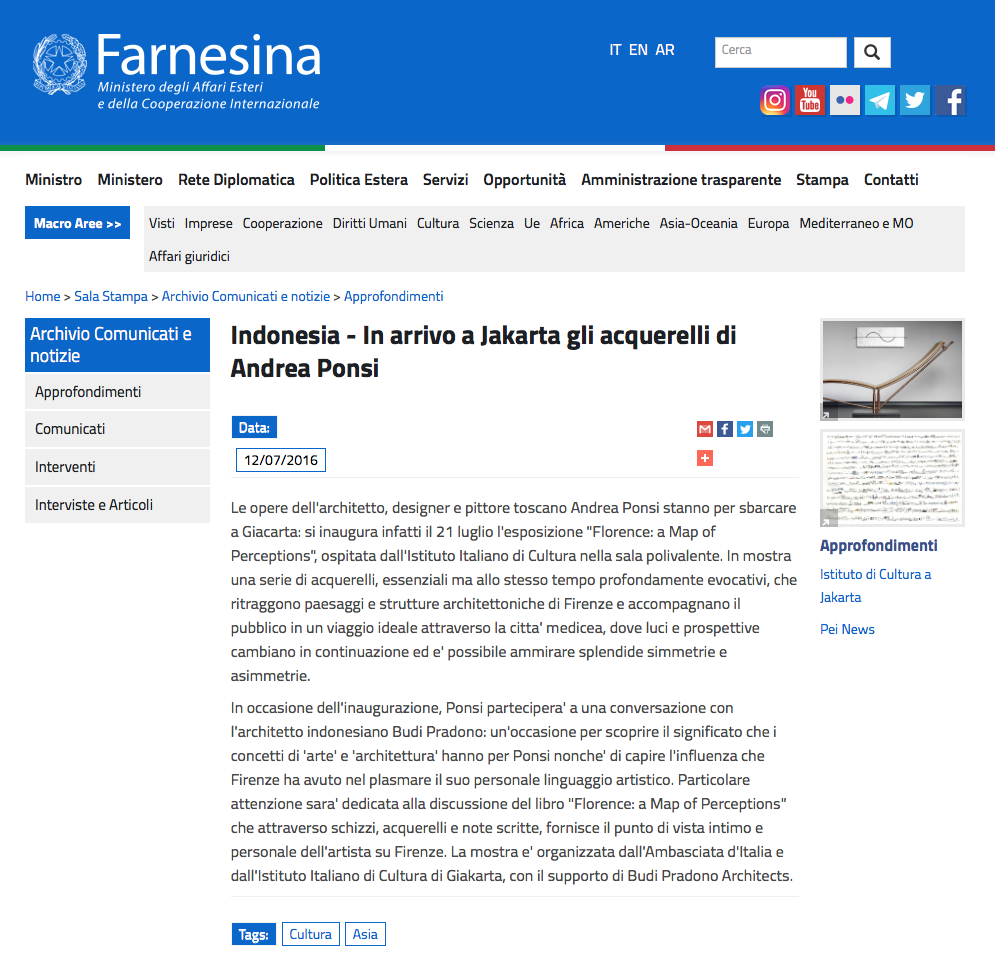 Farnesina webpage