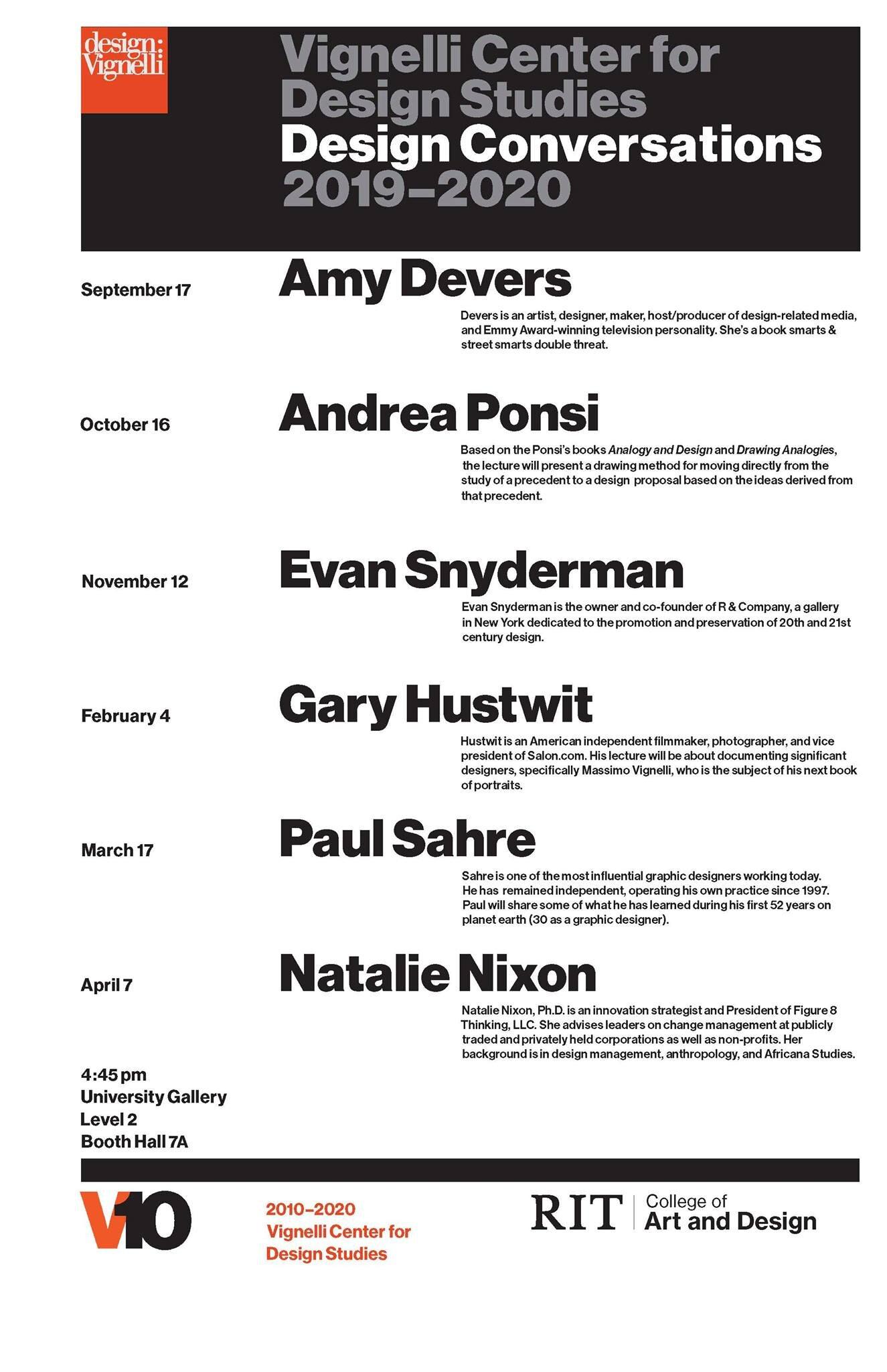 Vignelli Center for Design Studies_Design Conversations 2019-2020