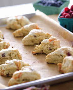 Apricot and cranberry buttermilk scones served with fresh fruit