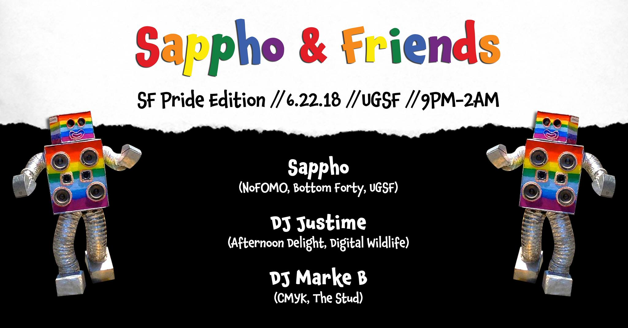 Sappho & Friends Pride w/ DJ Justime & Marke B