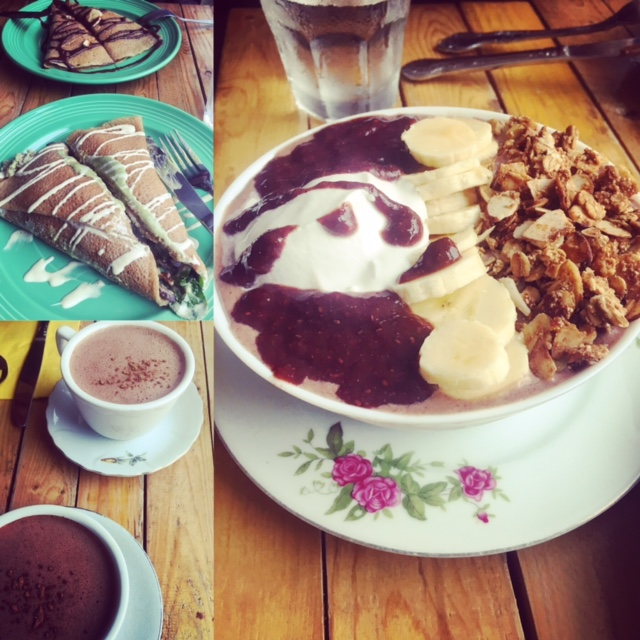 Gluten-free crepes, spicy hot cocoa made with almond milk, and an acai bowl from  Little Choc Apothecary in Brooklyn, NY  http://www.chocny.com