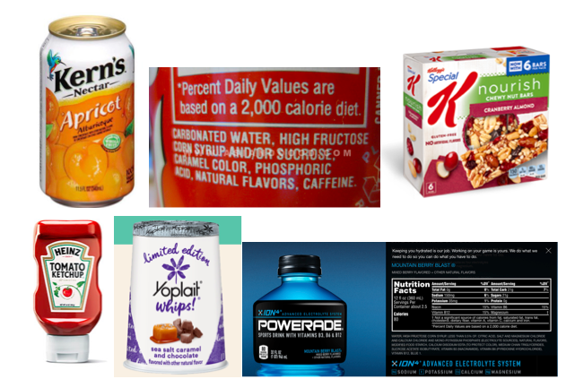 Examples of high fructose corn syrup (HFCS)-containing foods