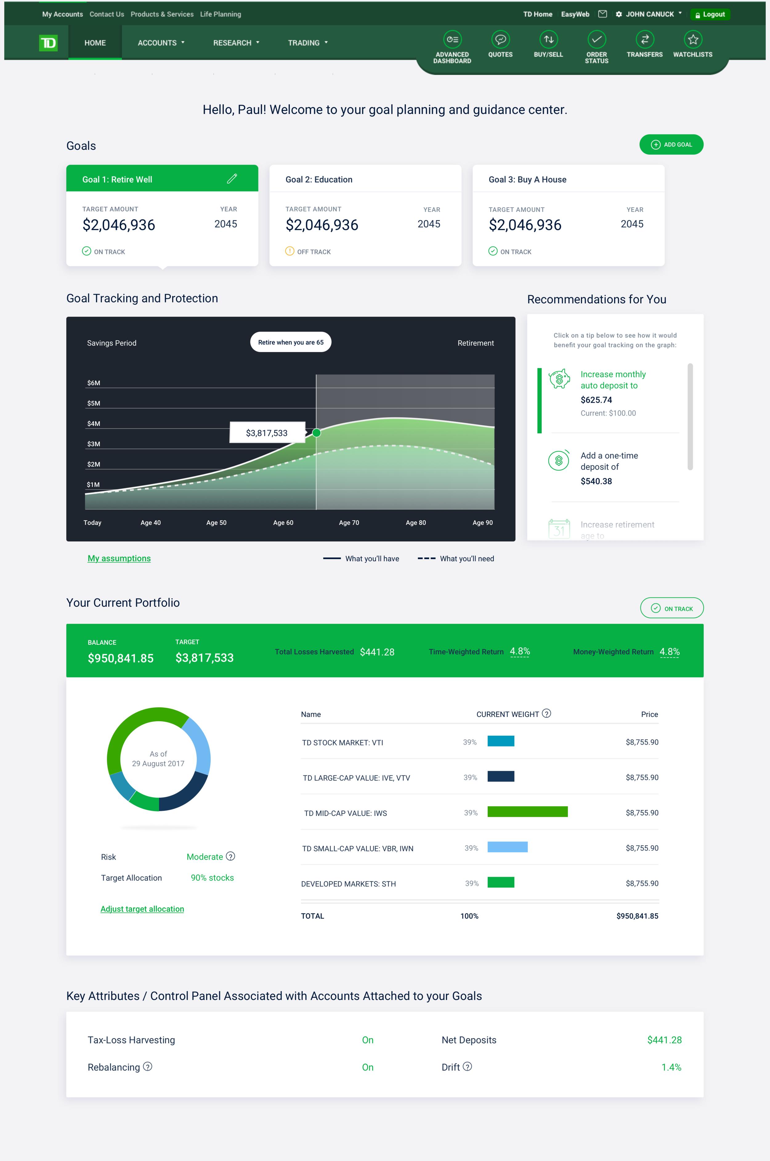 Fintech Dashboard Design (Goal-based Investing)