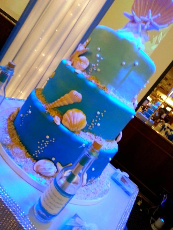 Under the sea themed wedding cake