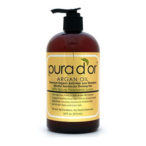 Pura d'or shampoo that contains 12 DHT blockers to stop premature hair loss. #hairtherapy #antihairloss #arganoil