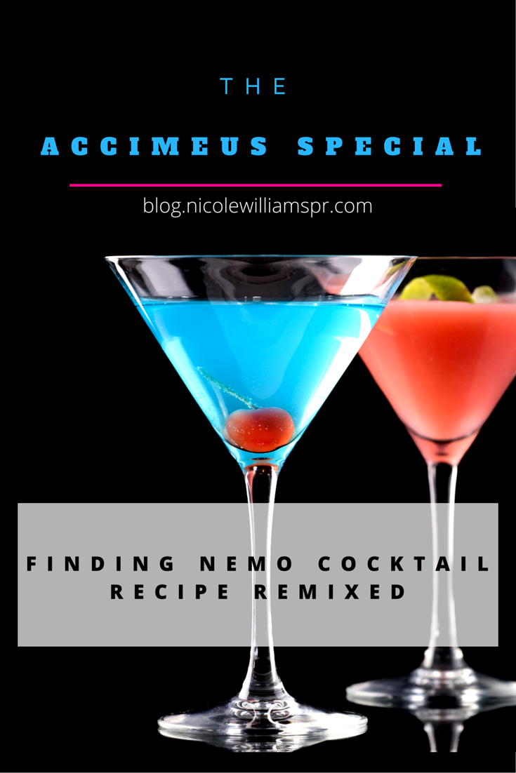 """The Finding Nemo Cocktail Recipe."""" We substituted a few of the ingredients, and replaced the Swedish Fish candy with a cherry and called it ... #cocktailrecipe #drinkrecipe #signaturedrinks #weddingcocktails"""