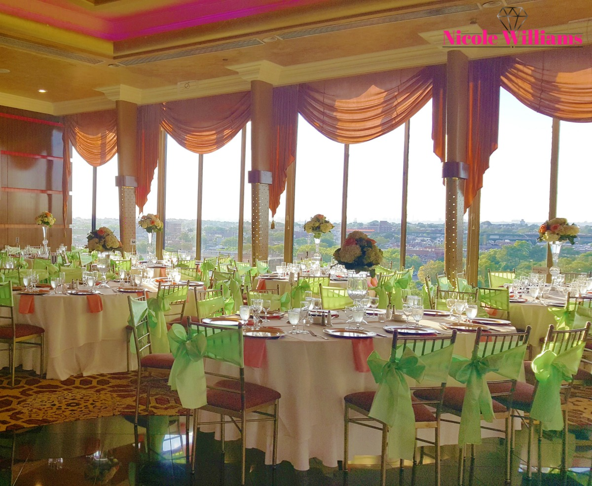 The scene is kept timeless with the gold tones popping through the mint green and fuchsia-colored palette. #realweddings