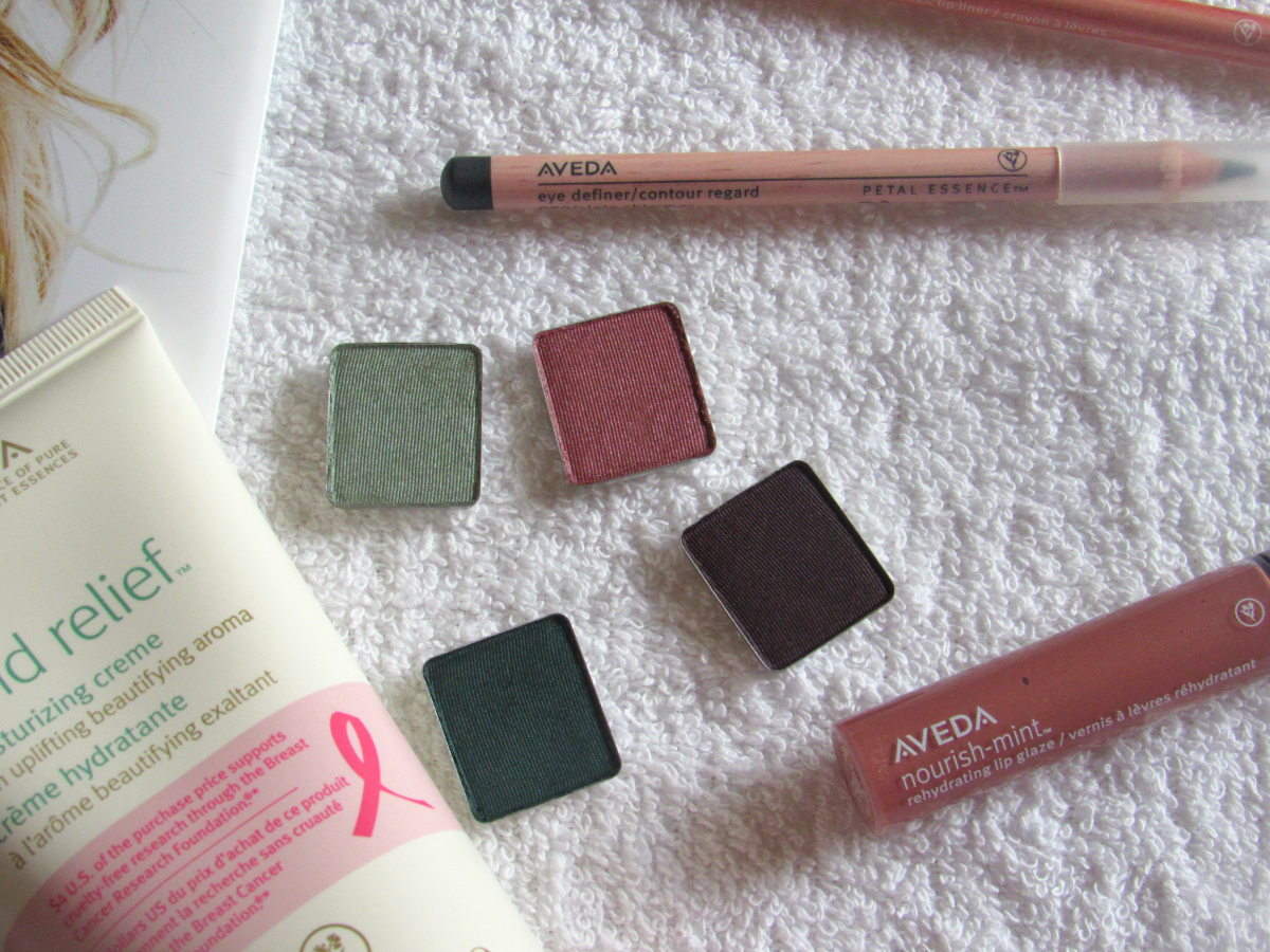 Aveda crease-resistant single eye colors.