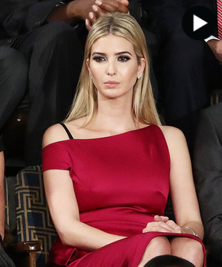 Ivanka Trump baring her shoulders at President Trump's first address before a joint session of Congress in February. Screenshot  InStyle