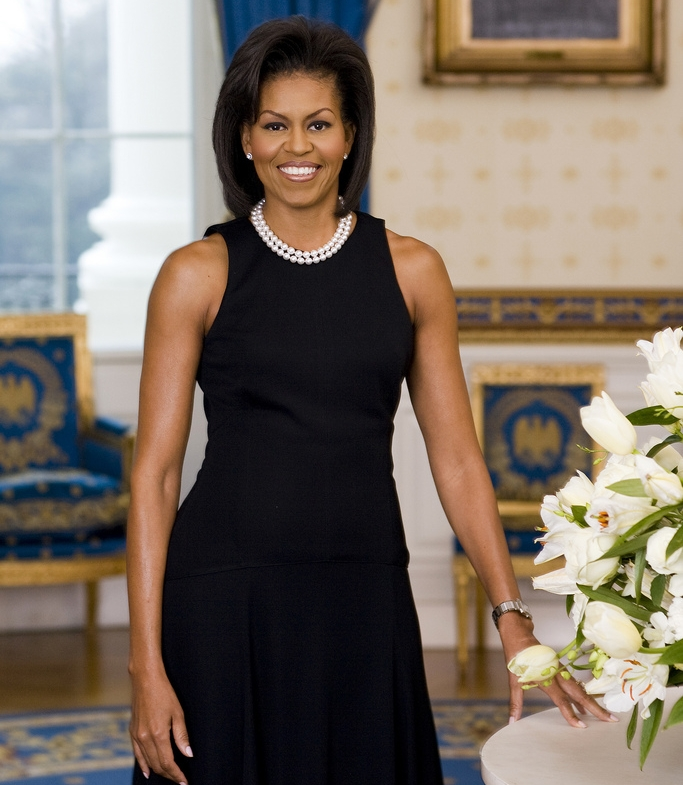 First Lady Michelle Obama official photographic portrait. Source   Georgia Democrats     Connect 2017, used under its  Creative Commons license