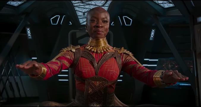Okoye (Danai Gurira)    in Black Panther. Photo: Marvel (in-video screenshot).