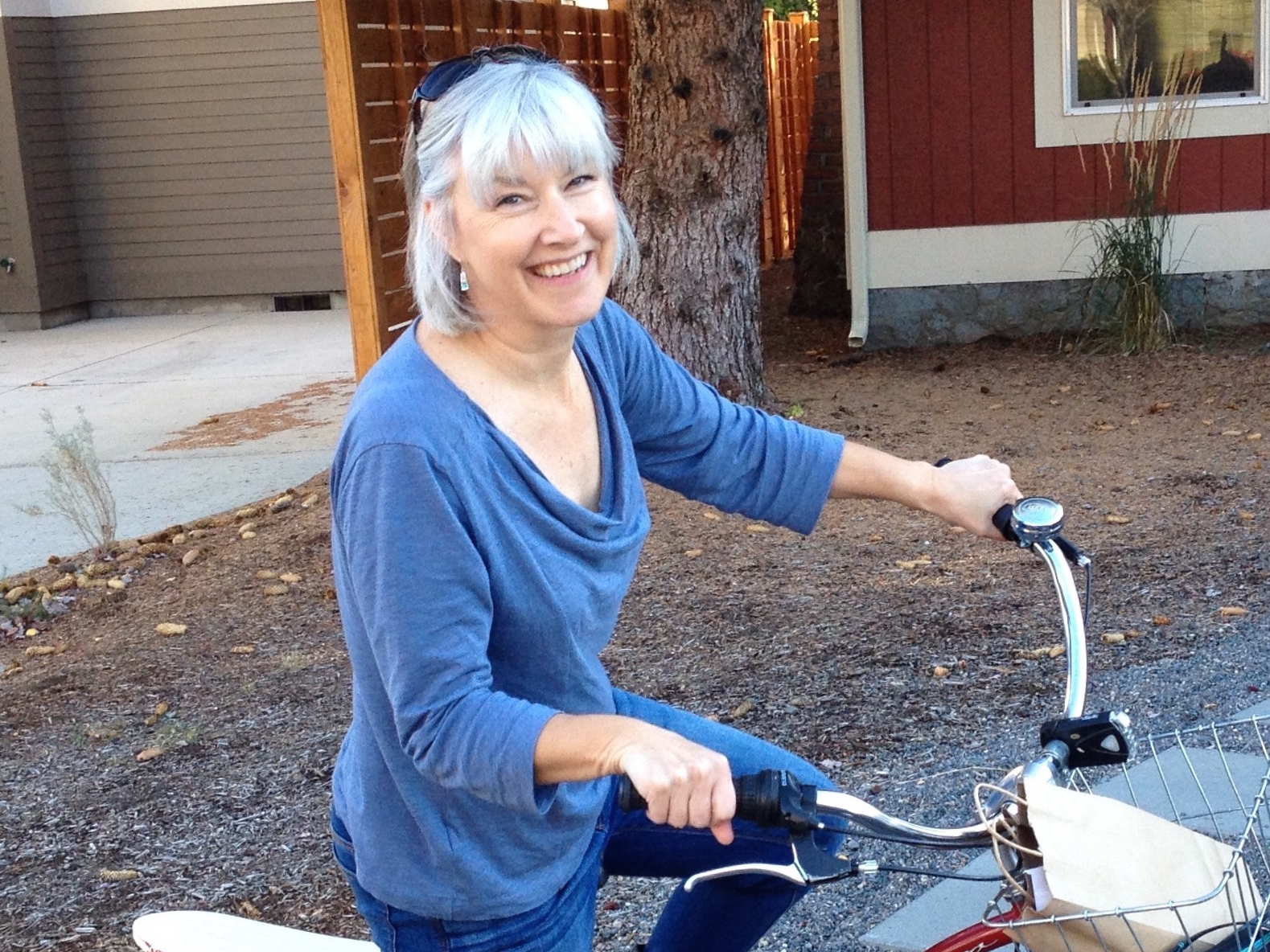 Shelly on one of her many bicycles