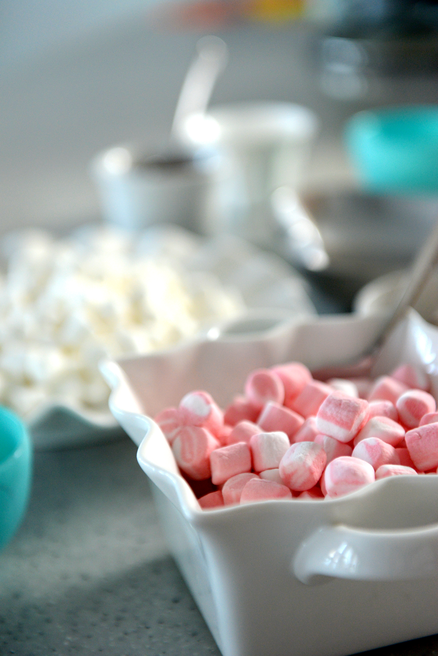 Peppermint and vanilla marshmallows for the hot cocoa bar.
