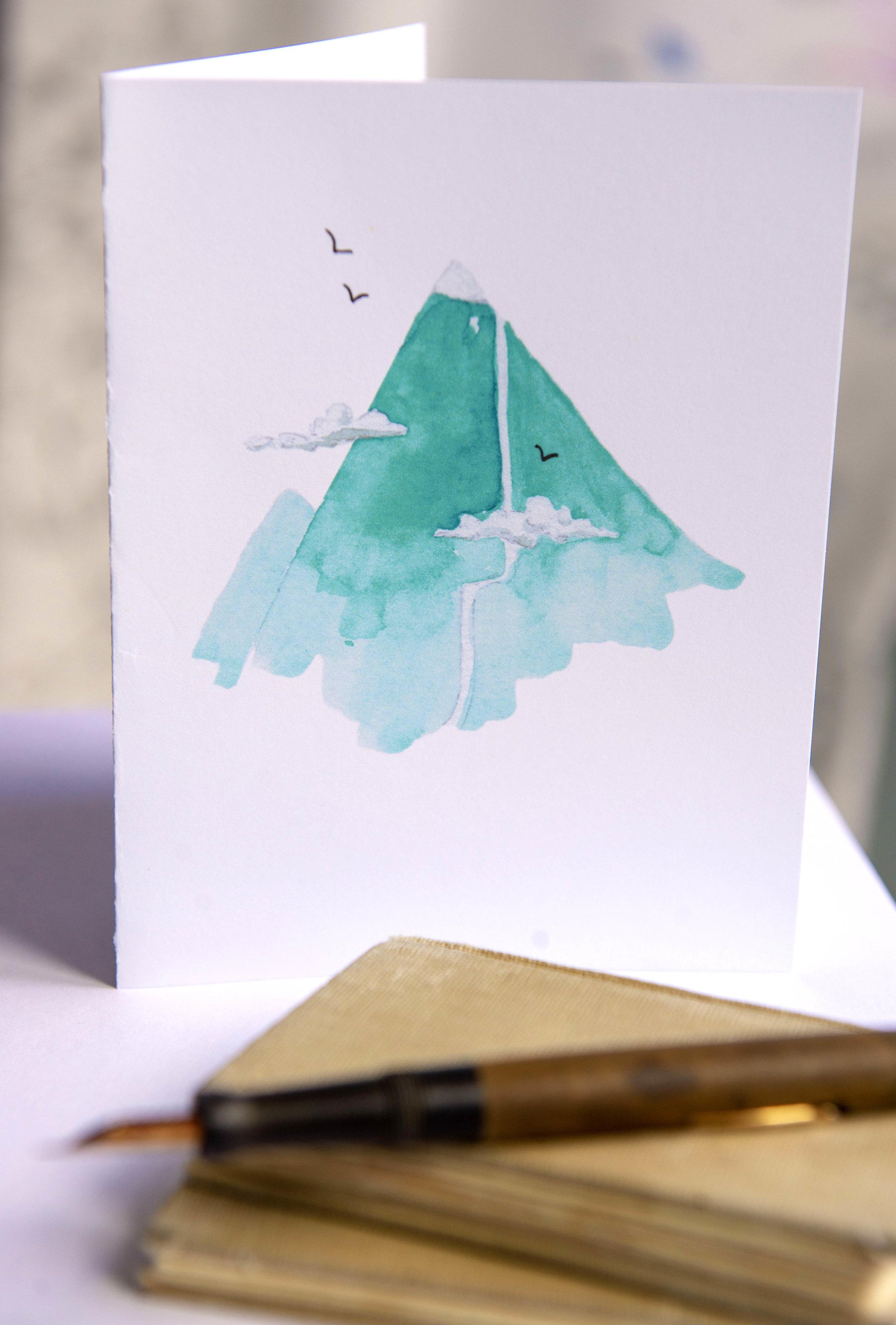 image regarding Blue Mountain Printable Cards known as PRINTABLE Watercolor Mountain Greeting Card Heather Tycksen