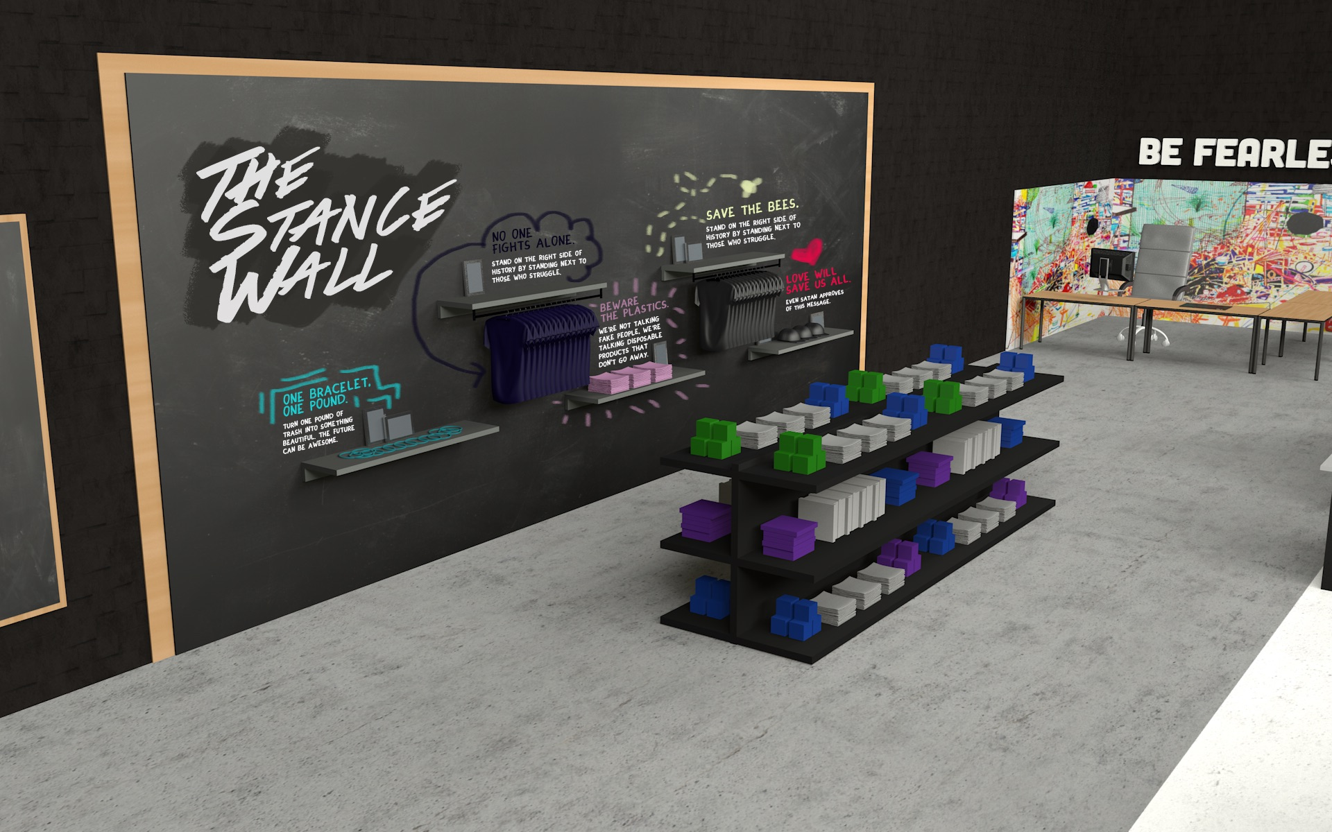 The Stance Wall displays products that benefit various causes, both local and national. Shoppers can read the story behind each product on the chalk surface and vote with their dollar.