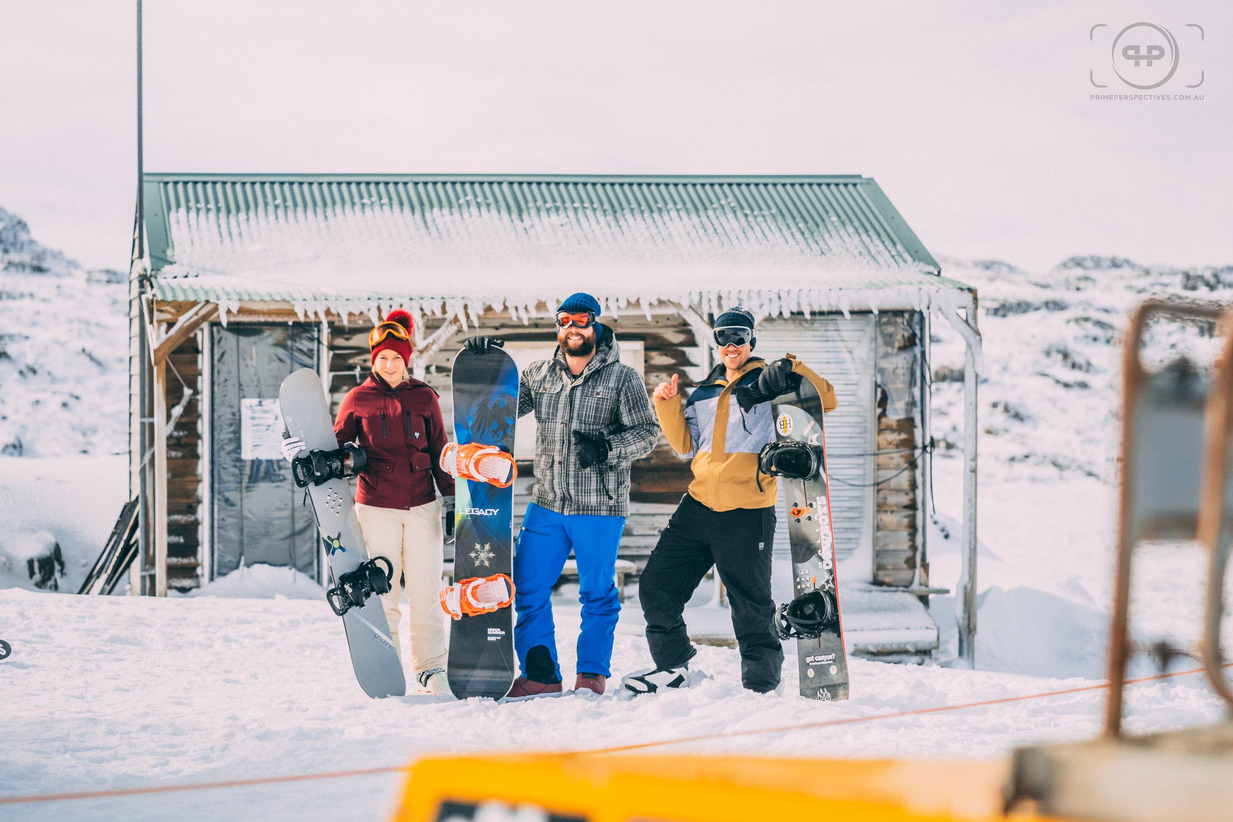 Snowboarders on Ben Lomond