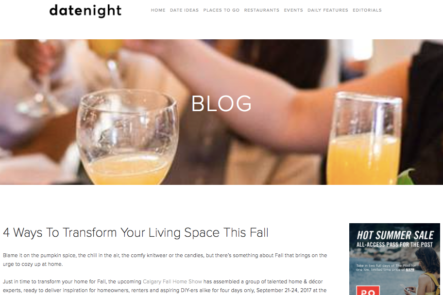 Date Night YYC: 4 Ways to Transform Your Living Space this Fall