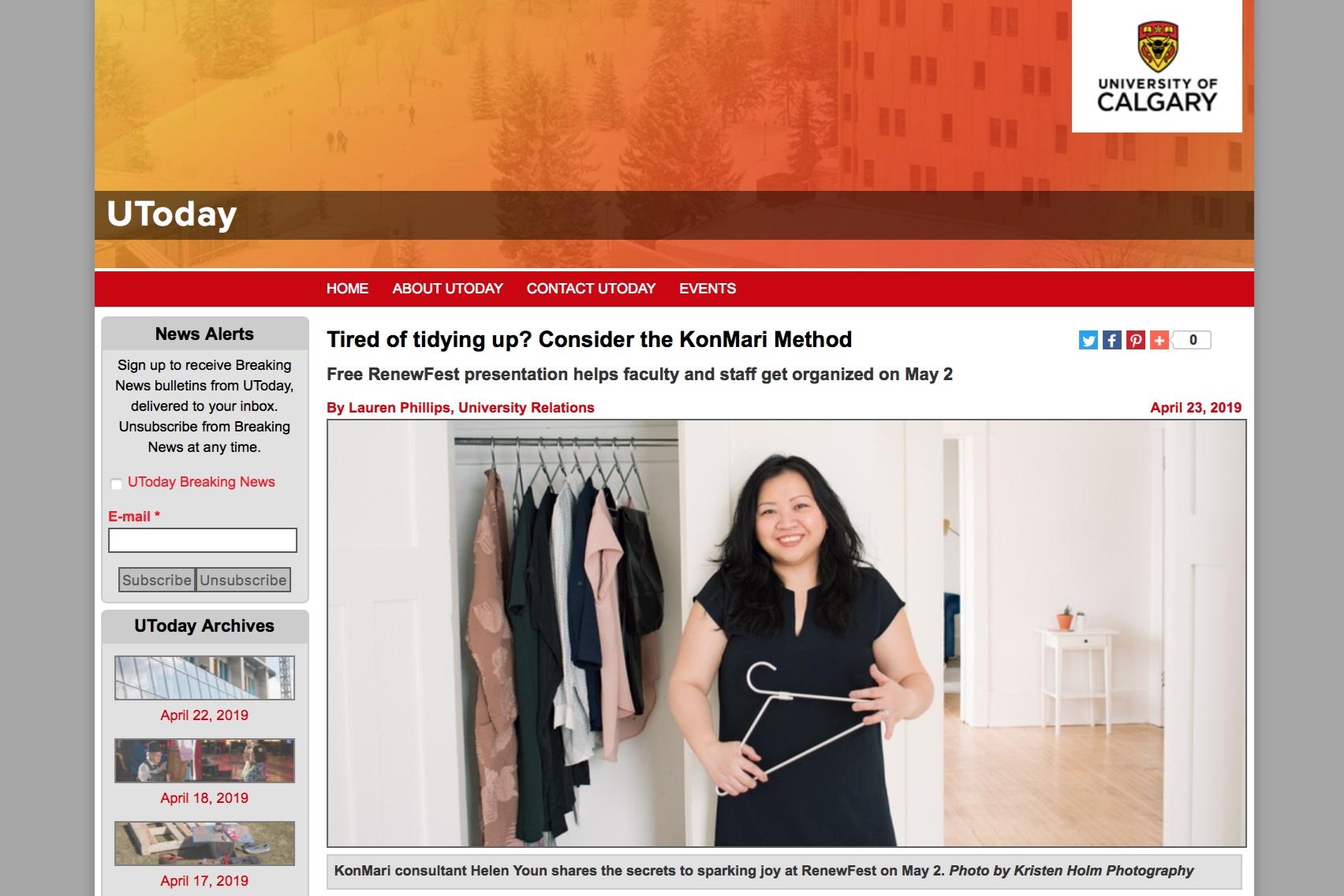 Helen Youn on UToday University of Calgary
