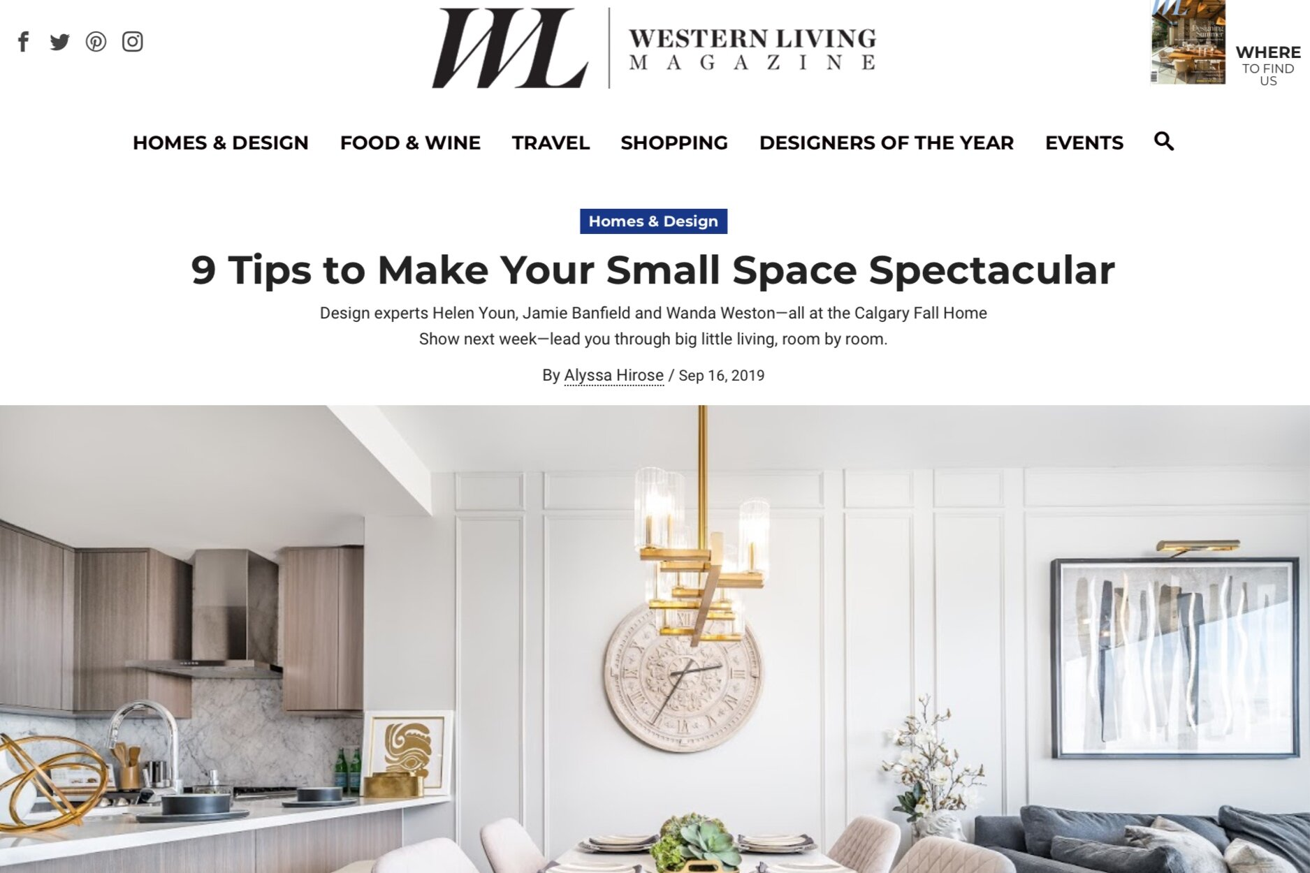 Western Living Magazine article 9 tips to make your small space spectacular