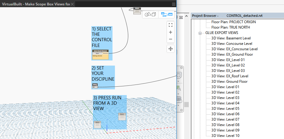 This script automatically creates 3D views with extents that match a control file