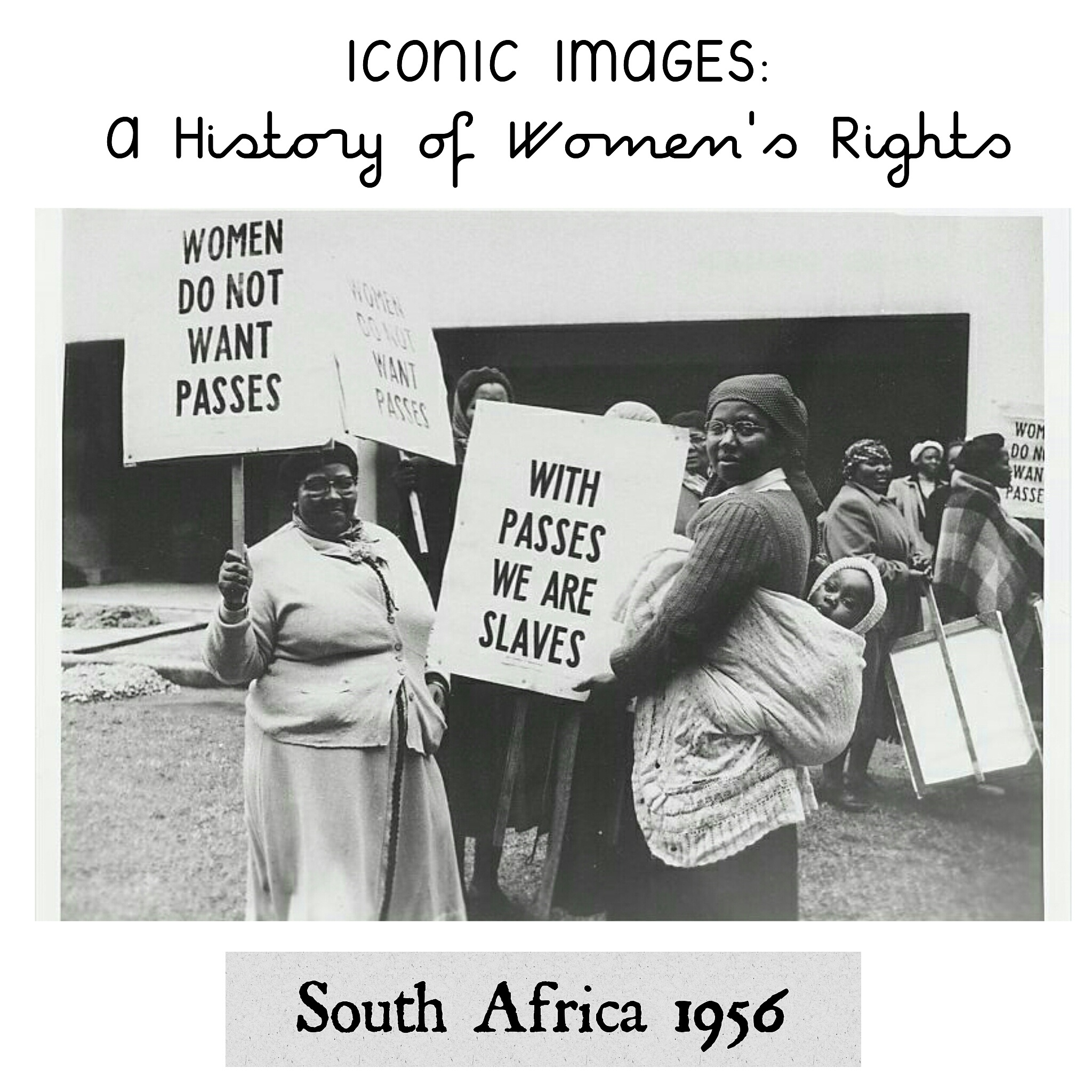 National Women's Protest, South Africa 1956 - Here we see women demonstrate against the Pass Laws in Cape Town on August 9th 1956, on the same day as the massive national women's protest in Pretoria.The pass laws were a type of internal passport system designed to segregate the population, which severely limited the movements of the black African citizens. Before the 1950's it was largely applied to African men, and attempts to apply it to women was met with overwhelming protests.Image source: www.overcomingaparthied.msu.edu