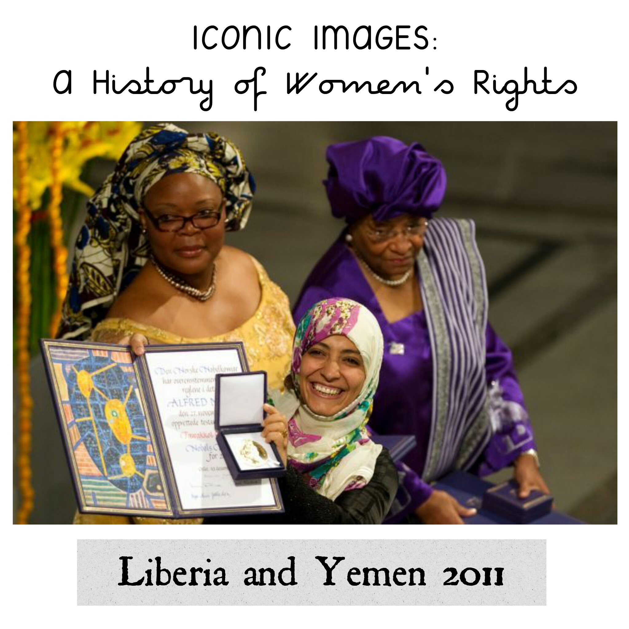 Three Remarkable Women win the Nobel Peace Prize, 2011 - Tawakkul Karman [seen holding the award in this photo] is a leading women's rights and democracy activist in Yemen, so vocal in her stance that she has been targeted by government. She is also the first Arab women to win the Nobel Peace Prize. Liberian president Ellen Johnson Sirleaf and compatriot Leymah Gbowee shared the award with Karman. They mobilised fellow women against the country's civil war, including organising a sex strike. This award is seen as significant recognition in favour of the empowerment of women, especially in the third world. [Sourced from abc.net.au]
