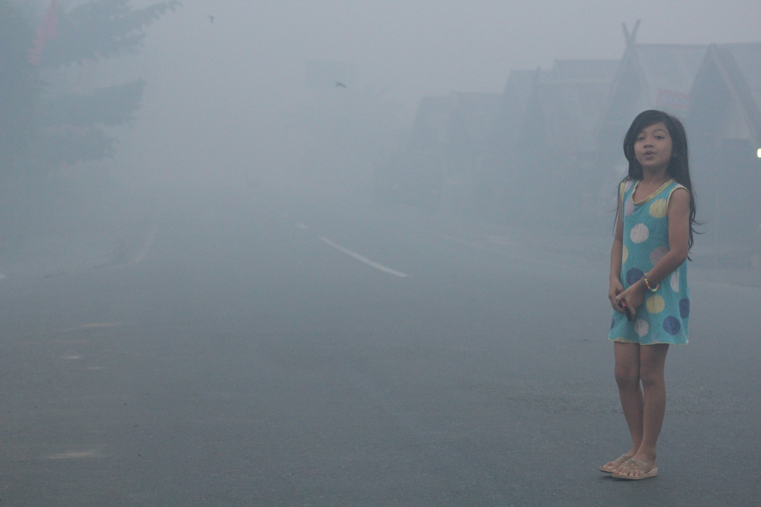 """Girl standing in toxic """"haze"""" produced by peat fires during the 2015 fire season in Central Kalimantan. This haze contain tiny particles and carcinogens that penetrate most paper masks and pass through the lungs, into the bloodstream, causing widespread cardiovascular sickness, and worse.   Photo by GAMBUT staff Endang Hariyadi."""