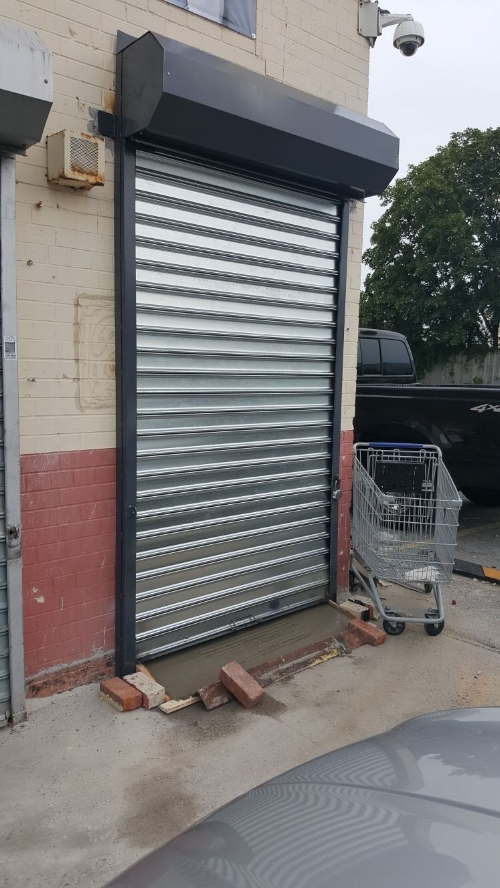 Commercial delivery entrance for grocery store