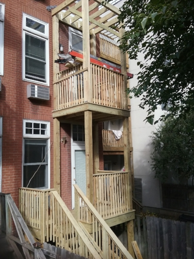 Finished dual deck for two separate units in Hoboken