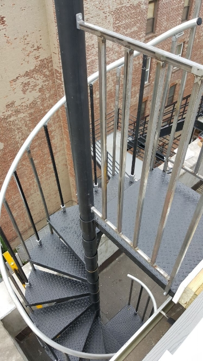 Spiral Staircase Going up to Roof Deck in Downtown Jersey City