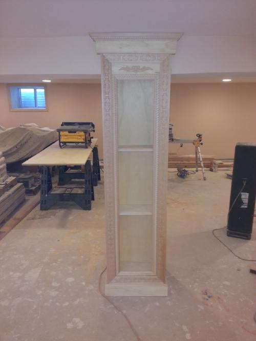 Custom wood work on basement column