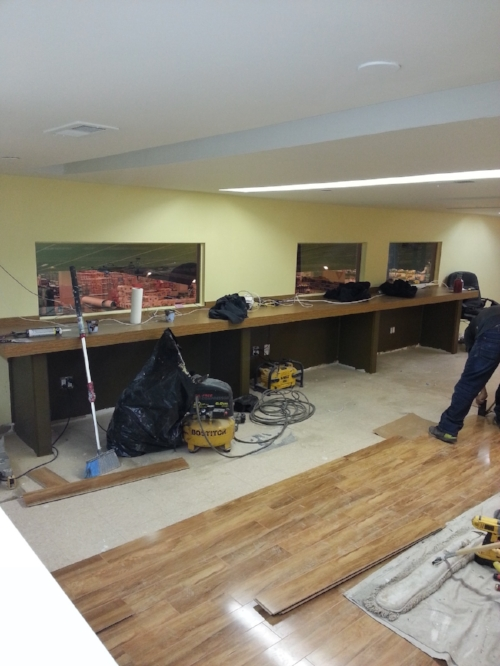 Custom work spaces and flooring installation