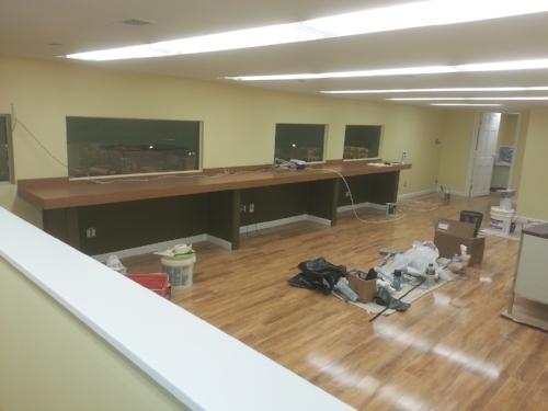 Custom work spaces and flooring installation