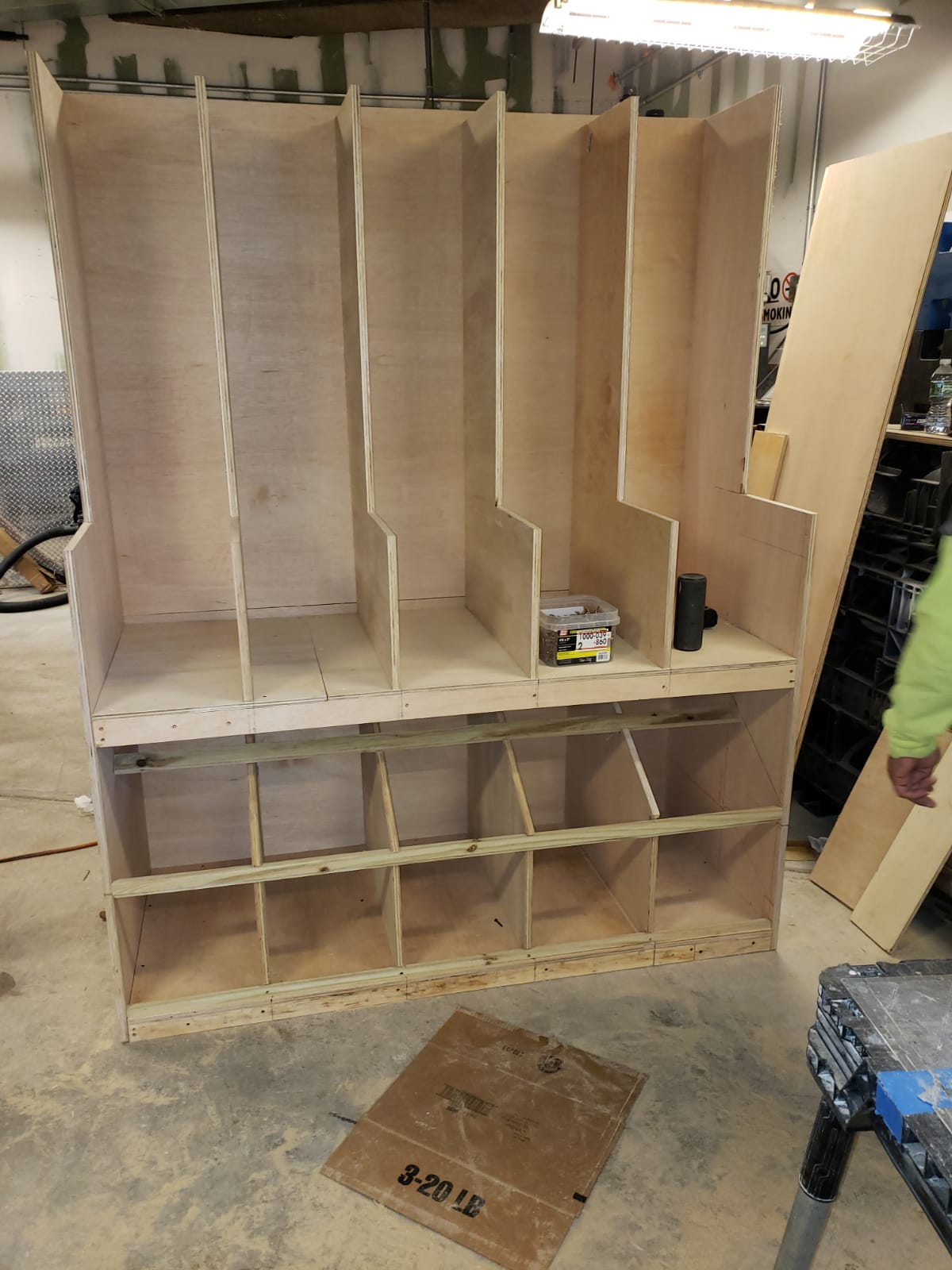 Custom shelving for a commercial store to dispense nuts, candies, etc.