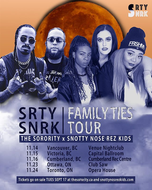 We heard y'all! And guess what? WE'RE BACK ON TOUR and this time with @snottynoserezkids! 🚨 FAMILY TIES TOUR🚨 We can't wait to rock out in Vancouver, Victoria, Cumberland, Ottawa and Toronto! Tickets go on sale September 17th at 1PM EST / 10AM PST! Tag who you coming with!