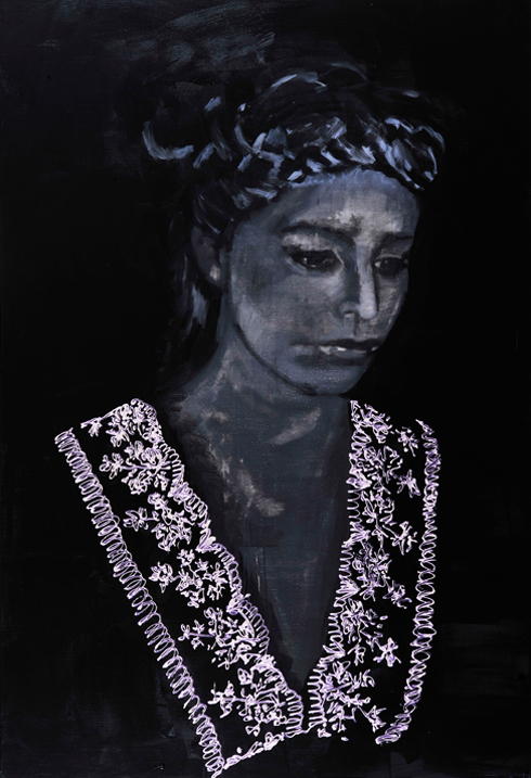 Mirrored 2011 tempera en acryl op doek 220 x 150 cm