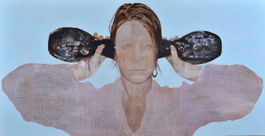 Bolts of pain schilderij op doek 130 x 250 cm
