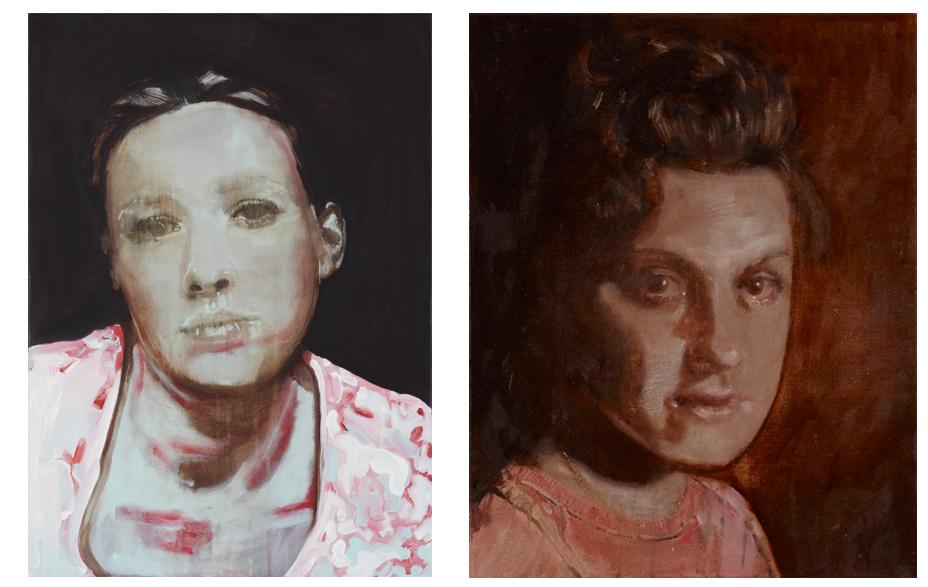 Moodshift (shift back to good again) 2010 schilderij op doek 70 x 50 cm  Embrase me 2010 schilderij op doek 50 x 40 cm