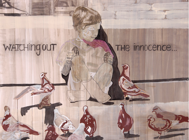 Watching out the innocence 2005 ekening op papier 150 x 199 cm