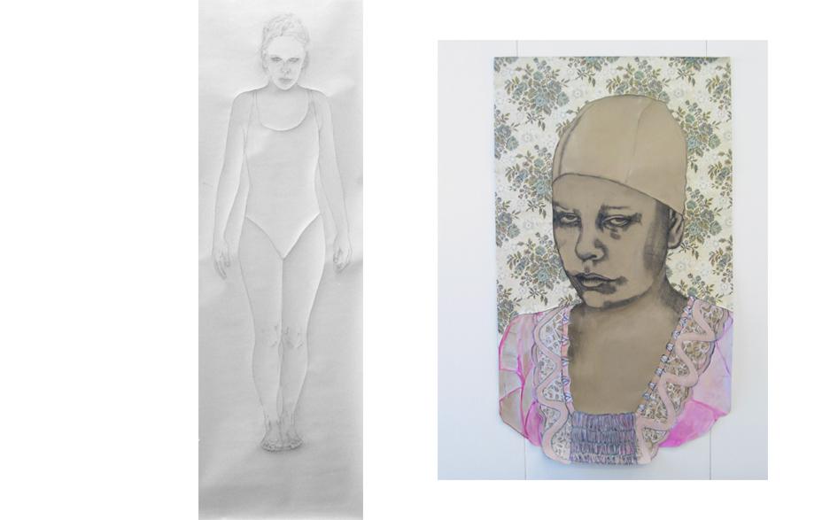 Zonder titel 2003 tekening op papier 210 x 60 cm   Zonder titel 2003 tekening op papier 210 x 140 cm