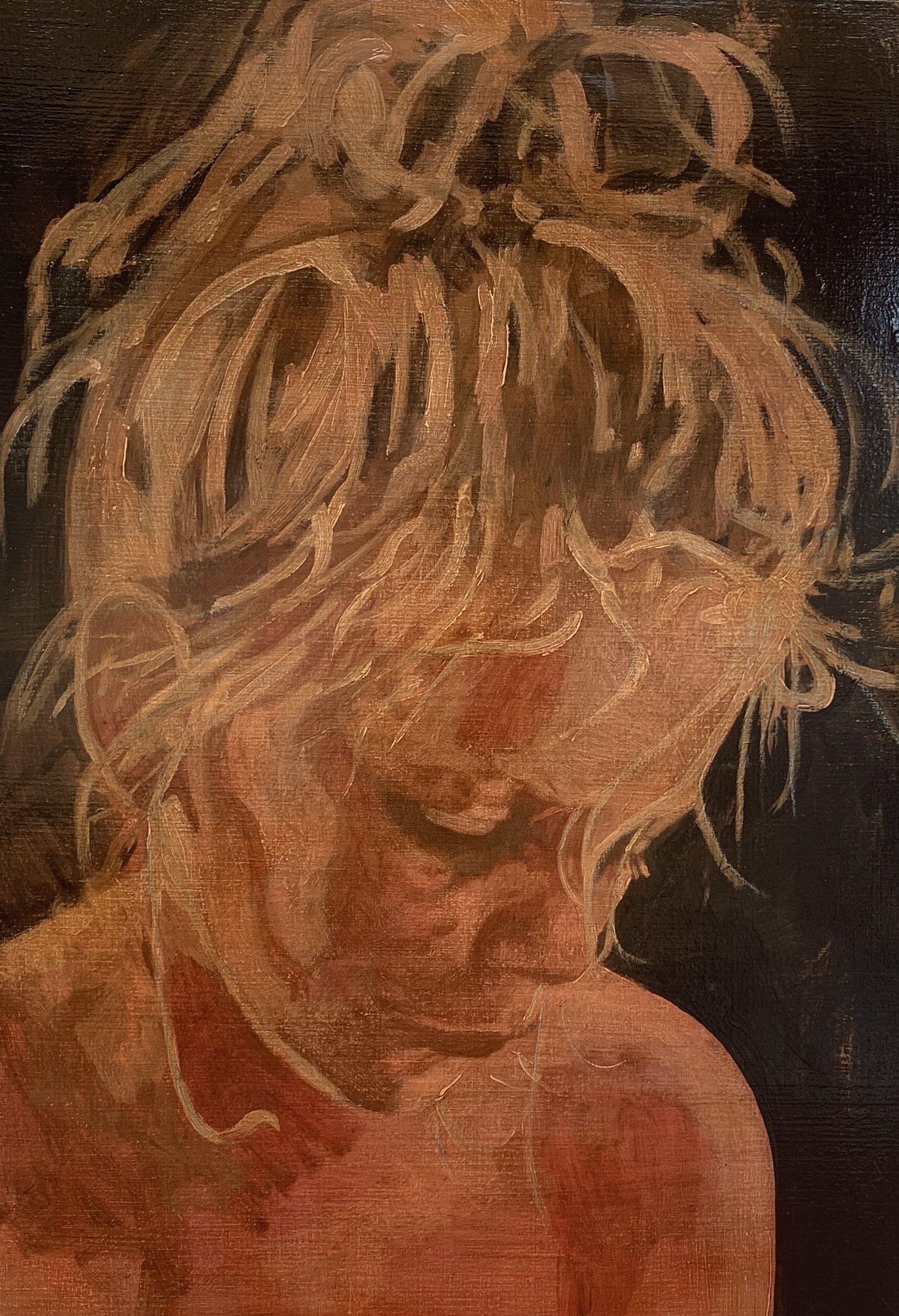 Higher love 2019  100 x 70 cm  Tempera, Pastel, Acryl en alkyd op doek