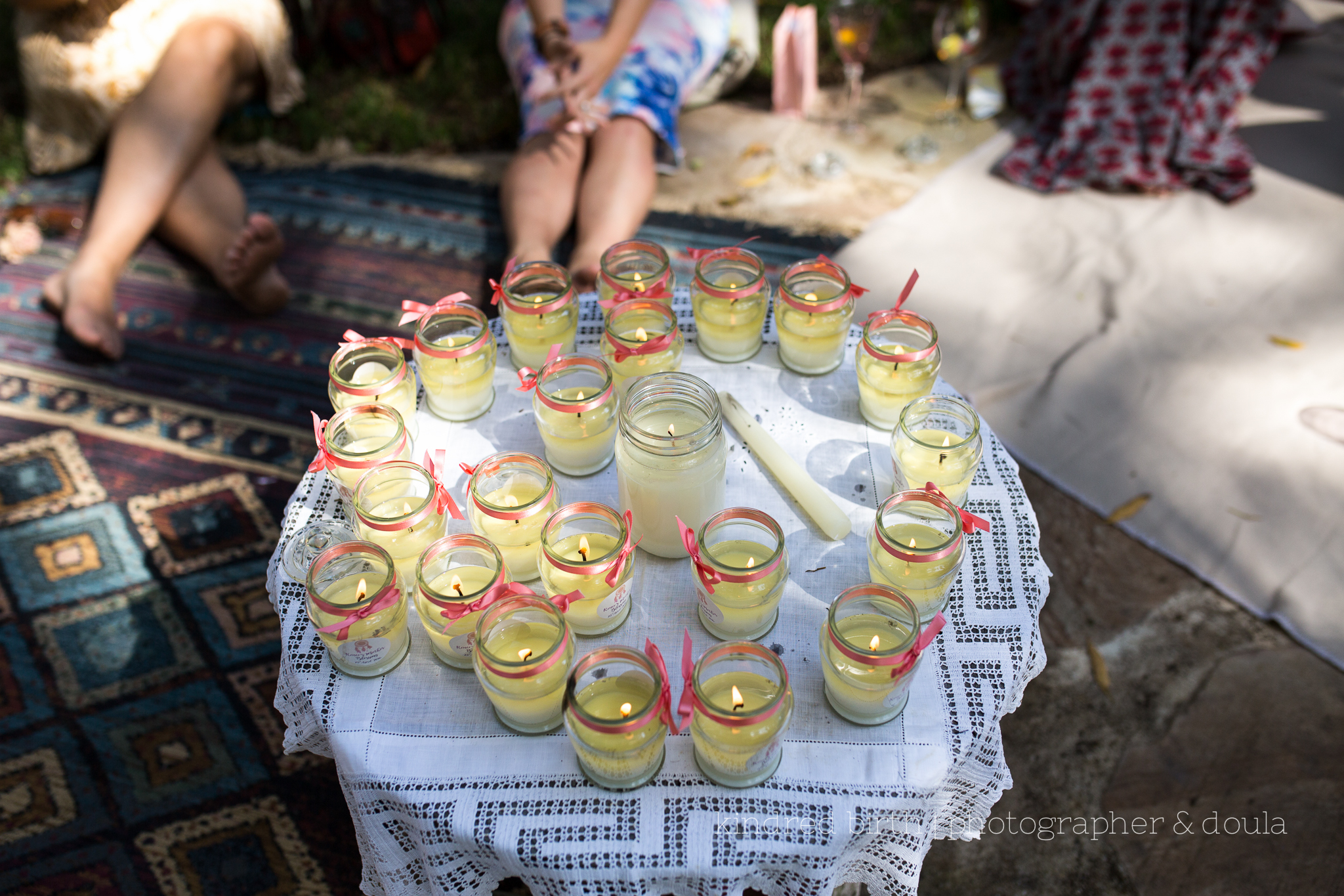 Birthing mother candle with female tribe candles