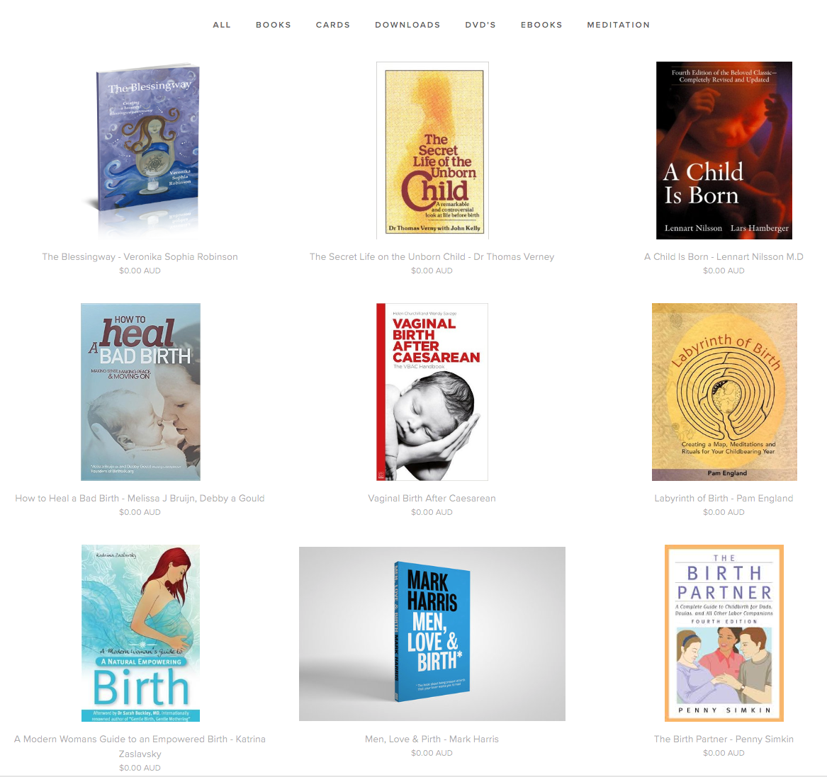 Kindred Birth client library of birth books