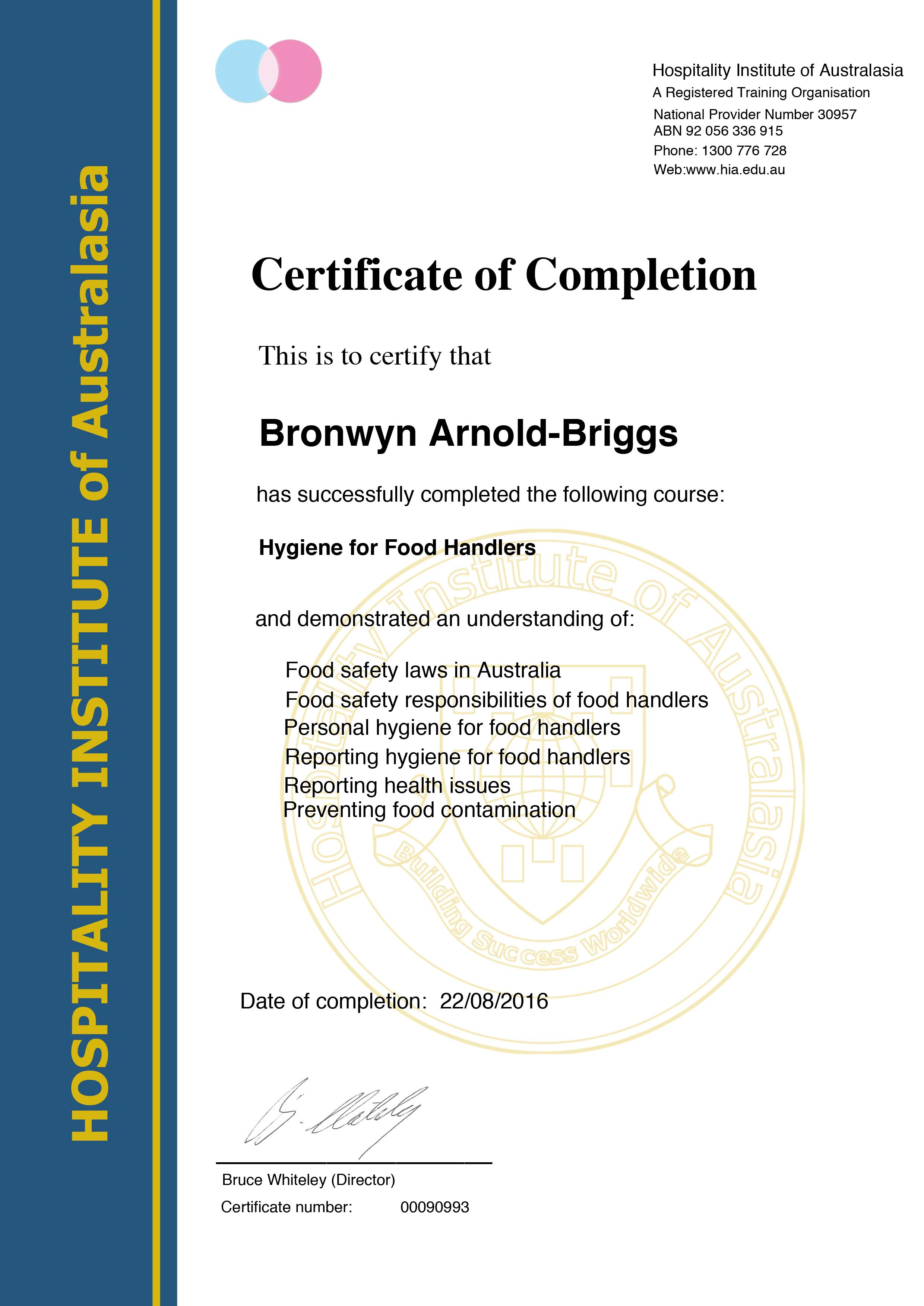 Food Handler Certificate of Completion